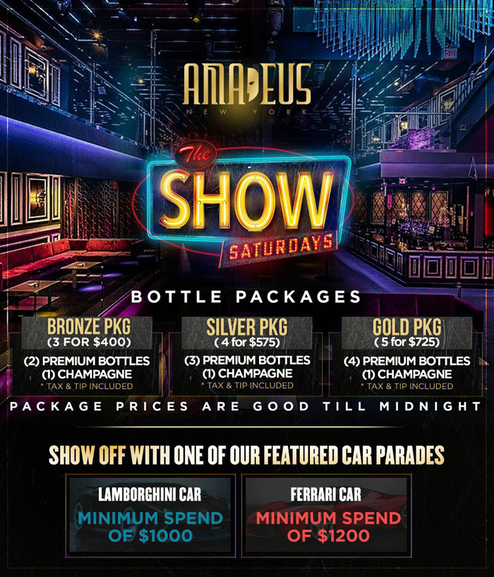 Club Amadeus Bottle Package Menu