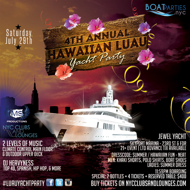 Hawaiian Luau Yacht Party