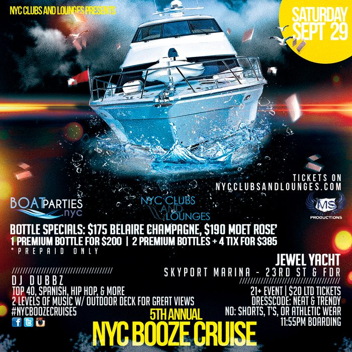 NYC Booze Cruise, late night boat party