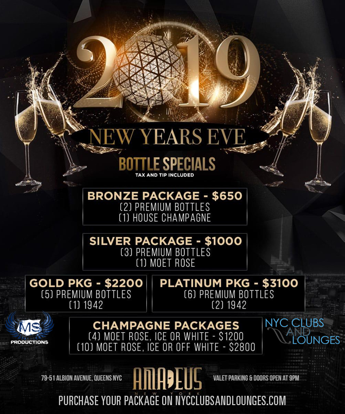 Club Amadeus New Year's Eve Bottle Package Menu